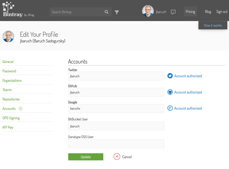 Authorize social accounts in Bintray profile