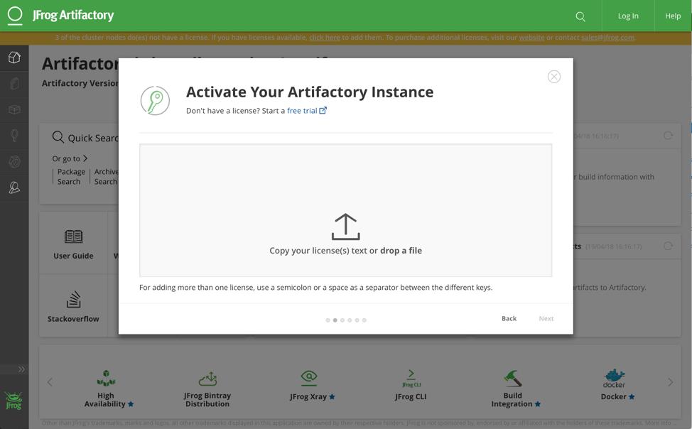 activate artifactory