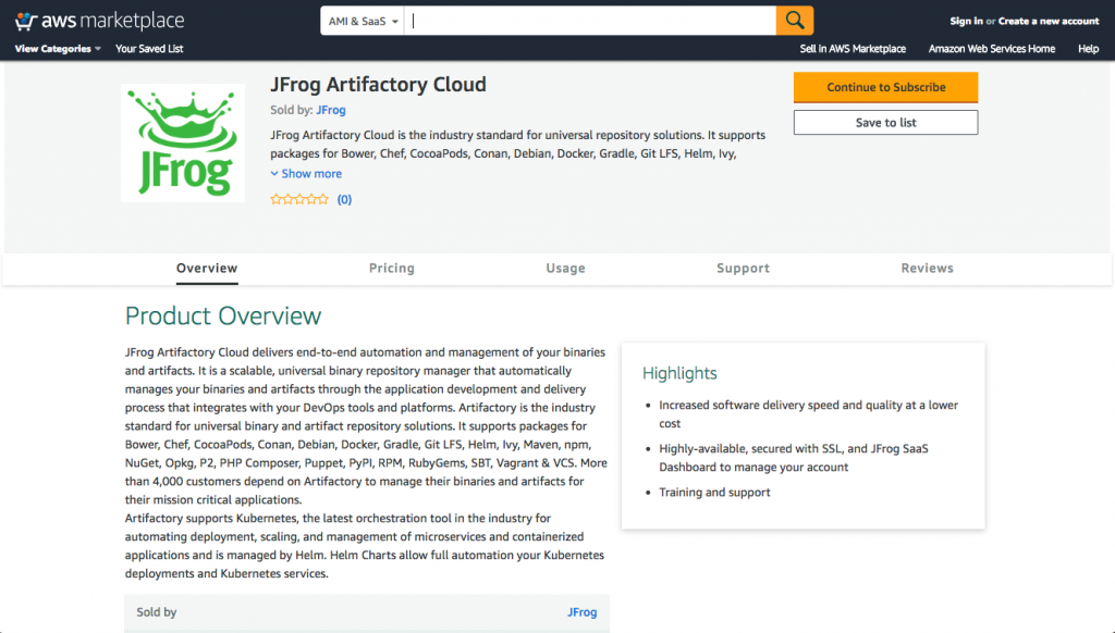 JFrog Artifactory Cloud on AWS Marketplace