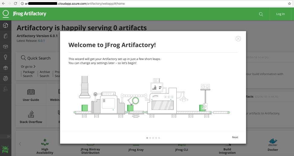 JFrog Artifactory Main page