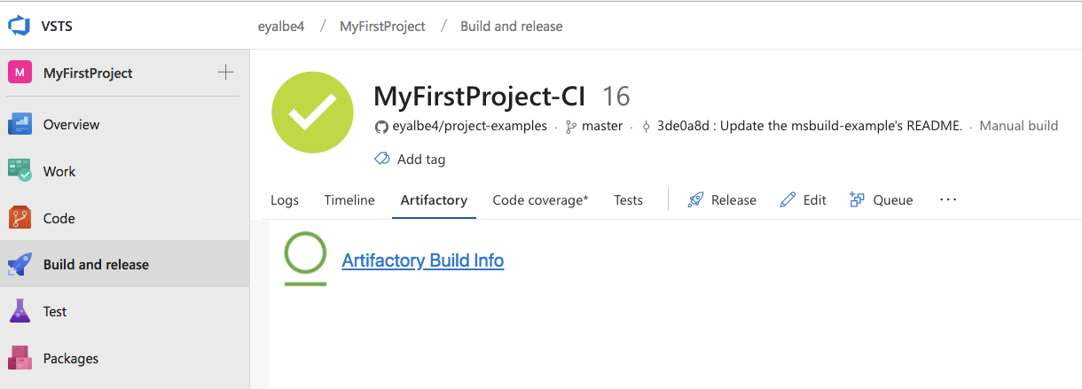 Visual Studio Team Services and JFrog Artifactory Extension