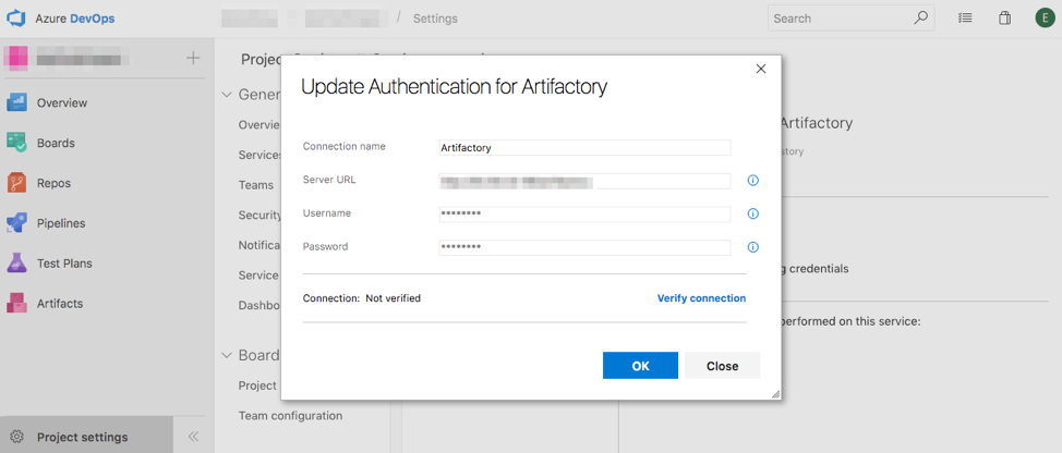 Update Authentication for Artifactory