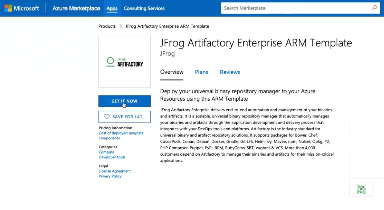 Artifactory Enterprise in Azure Marketplace