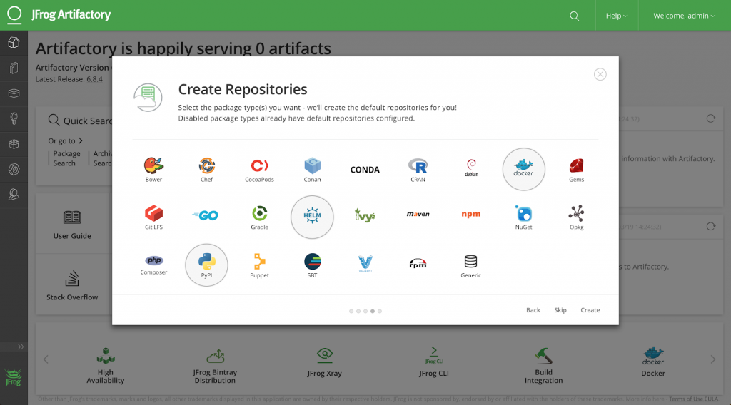 Artifactory Create Repositories